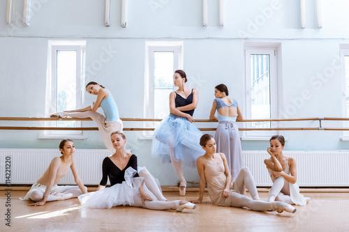 Fényképezés The seven ballerinas at ballet bar