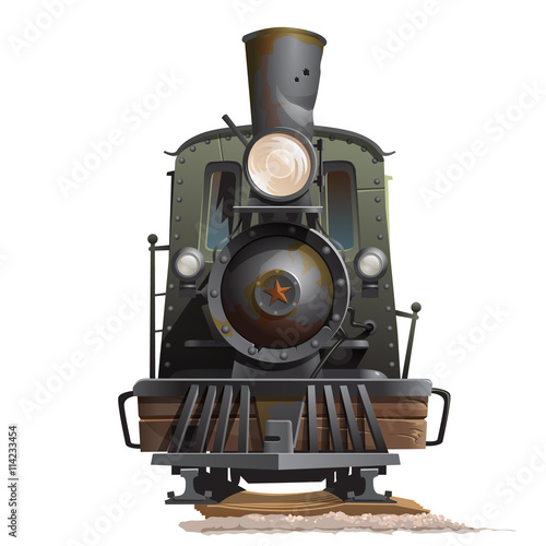Photo Train locomotive, front view. Vintage transport