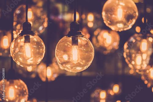 Fototapeta Retro edison light bulb decor