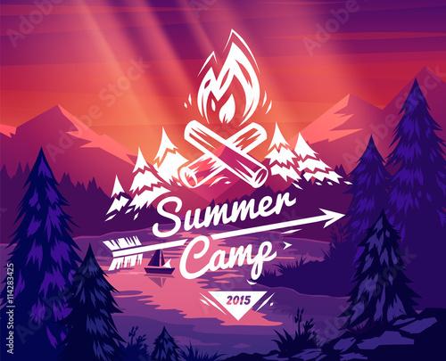 Carta da parati Summer camp typography design on vector background