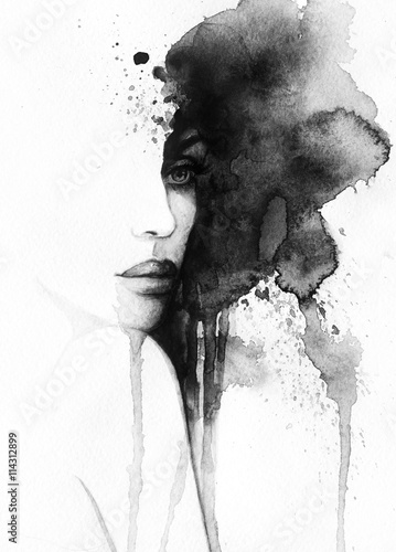 Naklejki na drzwi Abstrakcyjny czarnobiały portret kobiety