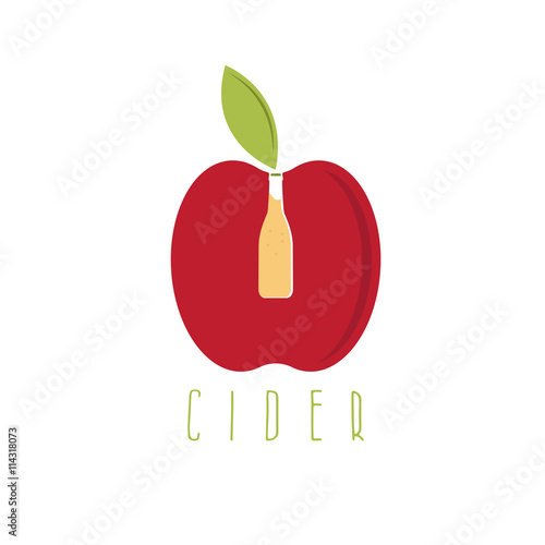 vector illustration of cider with apple and bottle Fototapete