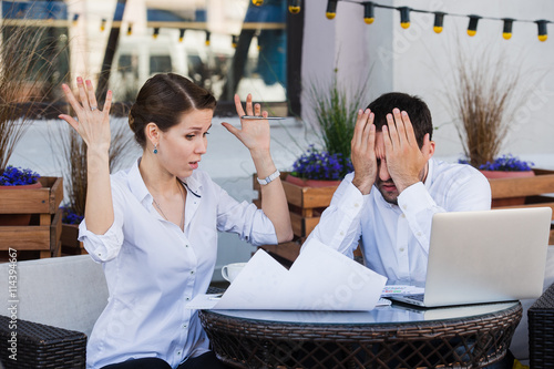 Stampa su Tela business people conflict working problem, angry boss argue scream to colleague b