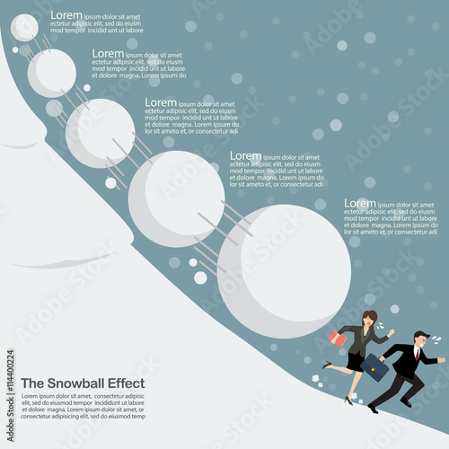 Photo Business man and woman running away from snowball effect
