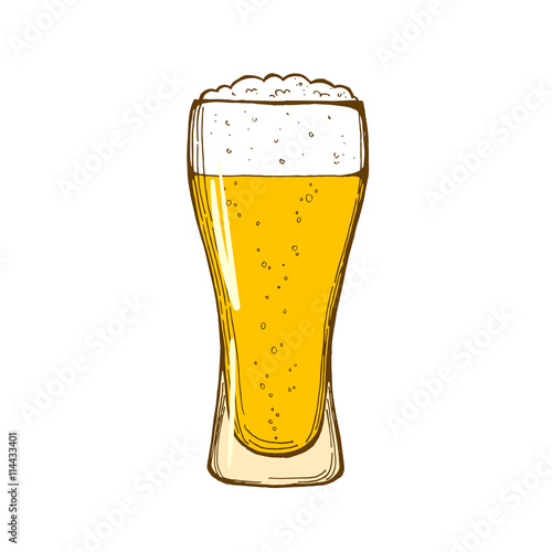 Photo Glass of beer isolated on white background, hand-drawing. Vector.
