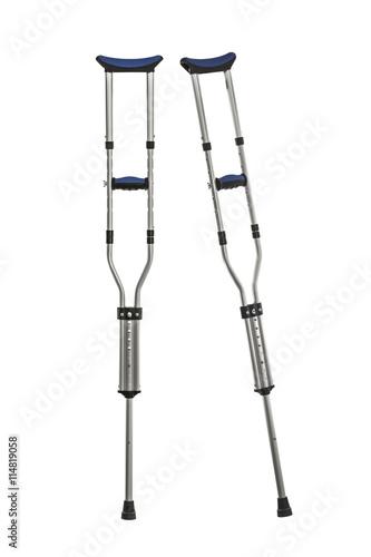 Obraz na płótnie Adjustable Metal Crutches Isolated on White