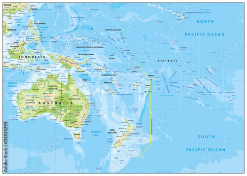 Photo Relief Map of Oceania