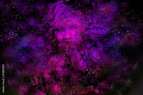 Stampa su Tela violett purple fairy dwarf spirit, colorful illustration