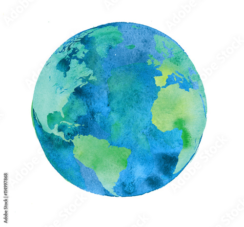 Canvas Print hand painted Earth globe. watercolor artwork