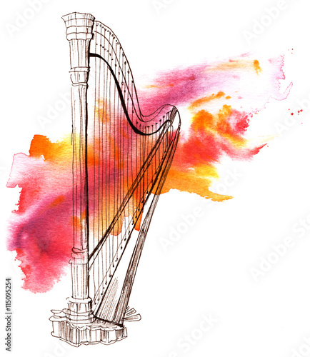 Photo Pen and ink drawing of vintage harp with watercolor stain
