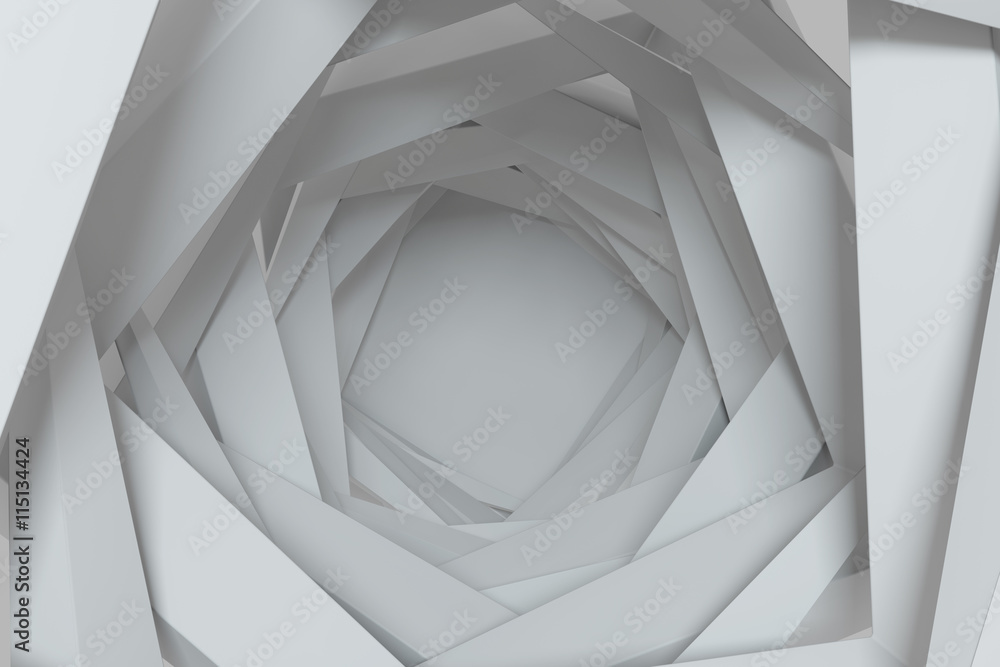 3d rendering concentric background with random rotated geometry shapes