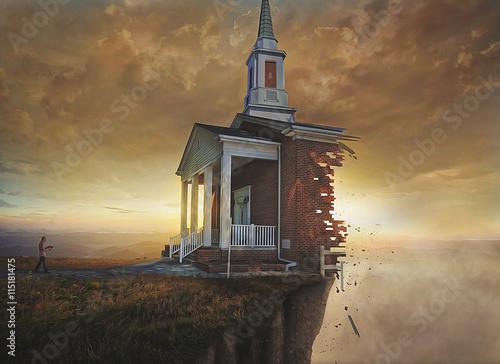 Billede på lærred Church on a cliff