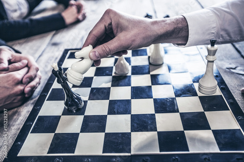 Fotografie, Obraz Obchodní lidé hrají šachy