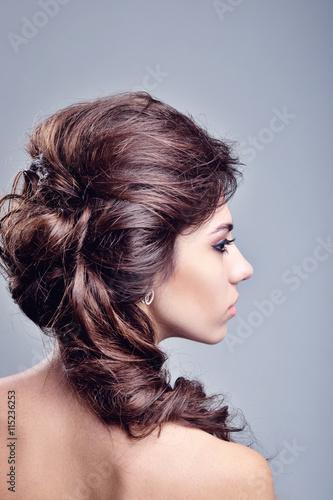 Beautiful Woman Portrait. Long Brown Hair