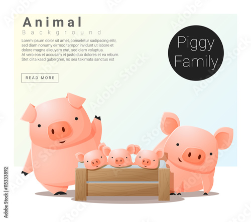Canvas Print Cute animal family background with Pigs , vector , illustration