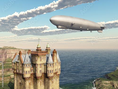 Foto Scottish castle and airship