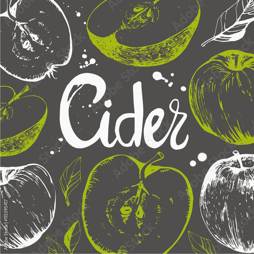 Fotografía Seamless nature background with sketch of apple. Cider.