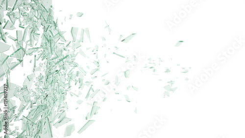 Abstract broken green glass in motion into pieces isolated on white background. 3d illustration