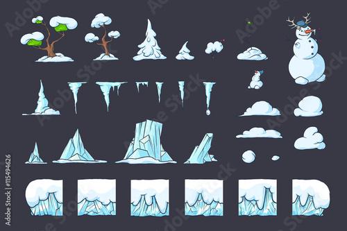 Winter Tile set for Platformer Game, Seamless vector ground blocks games design Fototapeta