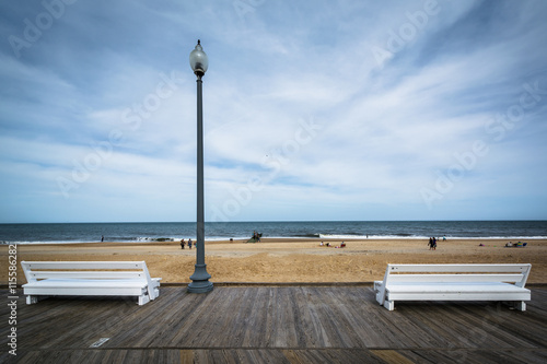 Benches on the boardwalk in Rehoboth Beach, Delaware. Fototapeta