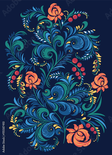 Canvas Print Illustration with flowers in the Russian traditional style Gorodets