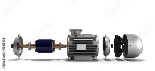 Fotografia, Obraz electric motor in disassembled state 3d render on a white backgr