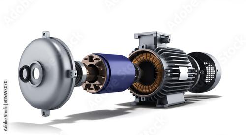 Obraz na plátne electric motor in disassembled state 3d illustration on a white