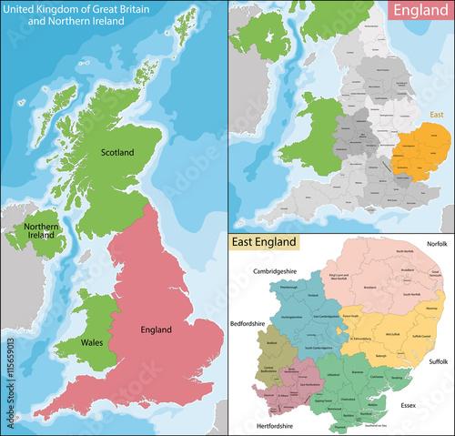 Obraz na płótnie Map of East England