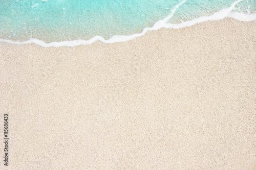 Fotografie, Obraz Soft ocean wave on the sandy beach, background.