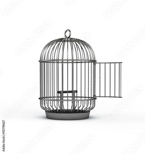 Silver birdcage with door open Fototapet