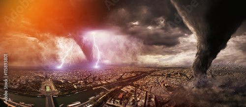 Canvas-taulu Large Tornado disaster on a city