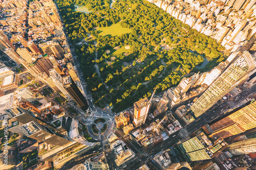 Canvas Aerial view of Columbus Circle and Central Park in NY City