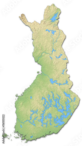 Canvas Print Relief map of Finland - 3D-Rendering