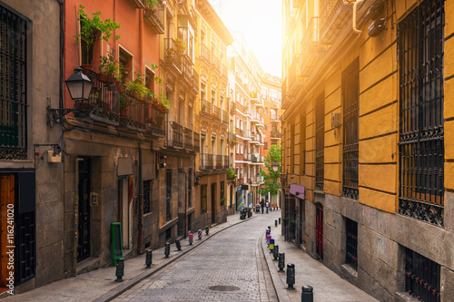 Obraz na płótnie Old street in Madrid. Spain