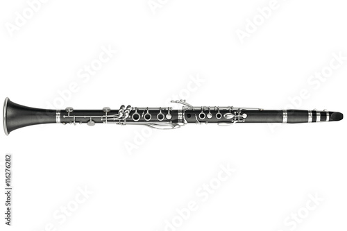 Canvas-taulu Clarinet classical woodwind instrument, top view. 3D graphic