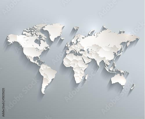 Fototapeta premium Światowa mapa polityczna Wektor 3D poszczególne stany oddzielają się