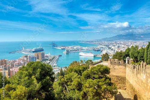Panoramic view of the port of Malaga from the Gibralfaro Castle Fototapeta