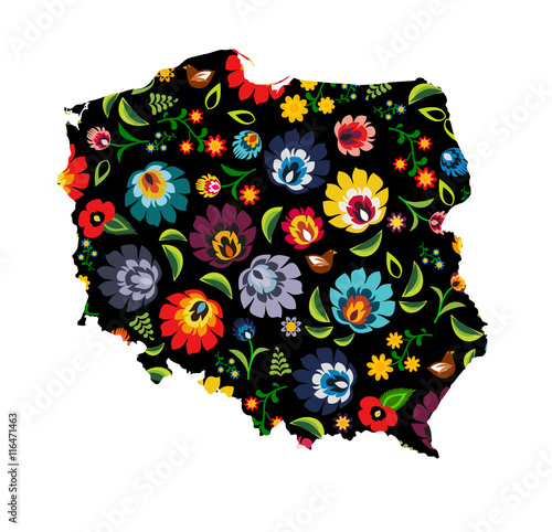 Poland shape filled with colorful traditional Polish folk pattern vector