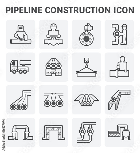 Canvas Print pipeline construction industry vector icon set design isolated on white background
