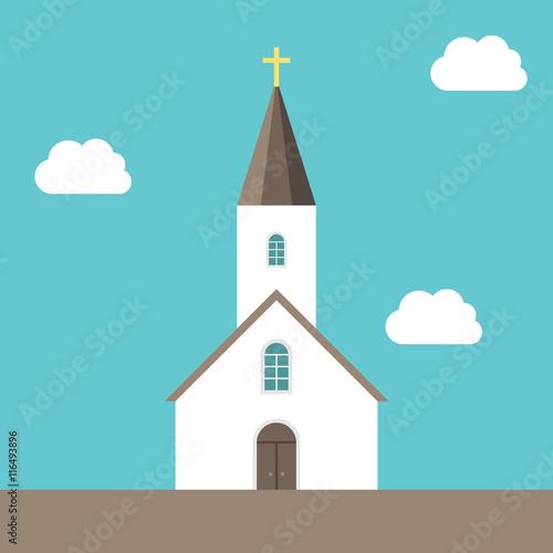 Wallpaper Mural Small church, sky background