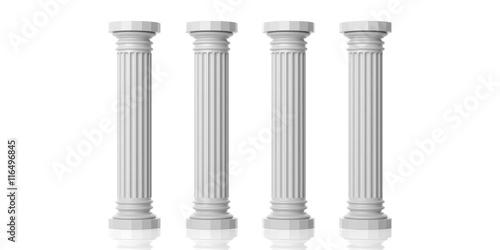 Obraz na plátně Four white marble pillars. 3d illustration