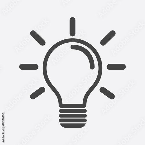 Fotografering Light bulb icon in white background