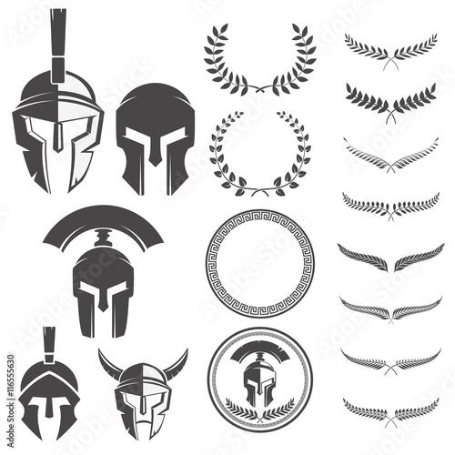 Set of the spartan warriors helmets and design elements for embl Fototapeta