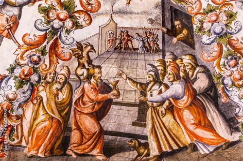 Valokuvatapetti Judas Receiving Silver Fresco Sanctuary of Jesus Atotonilco