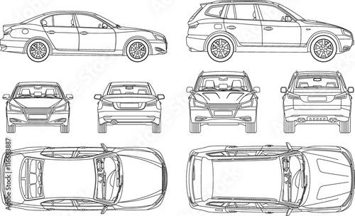 Samochód sedan i suv line remis cztery wszystkie widok z góry, ubezpieczenie od tyłu, czynsz, szkoda, formularz raportu raportu stanu