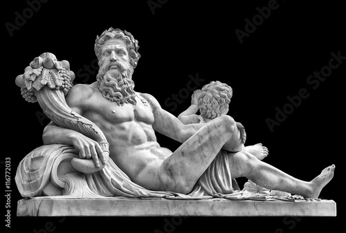 Canvas Print Marble statue of greek god with cornucopia in his hands.