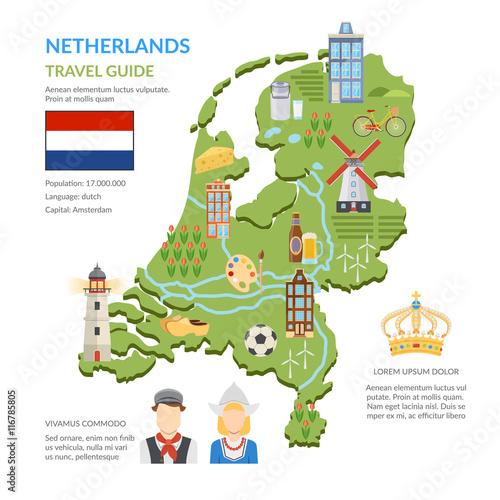 Photo Netherlands Map Flat Infographics