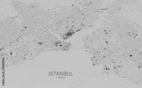 Fotografie, Obraz Cartina di Istanbul, vista satellitare, città, Turchia