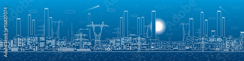 Power plant, electricity lines, energy and industrial panoramic, infrastructure, Fototapet