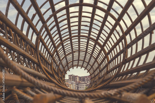 Fotografia Rebar cage perspective 6